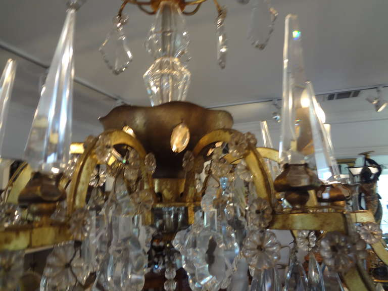 French Maison Baguès Style Eight-Light Crystal Chandelier In Good Condition For Sale In Houston, TX