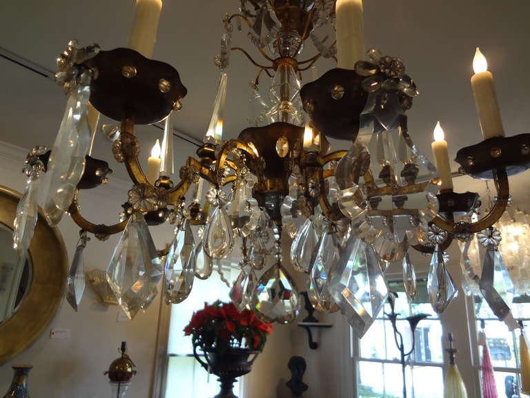 Mid-20th Century French Maison Baguès Style Eight-Light Crystal Chandelier For Sale