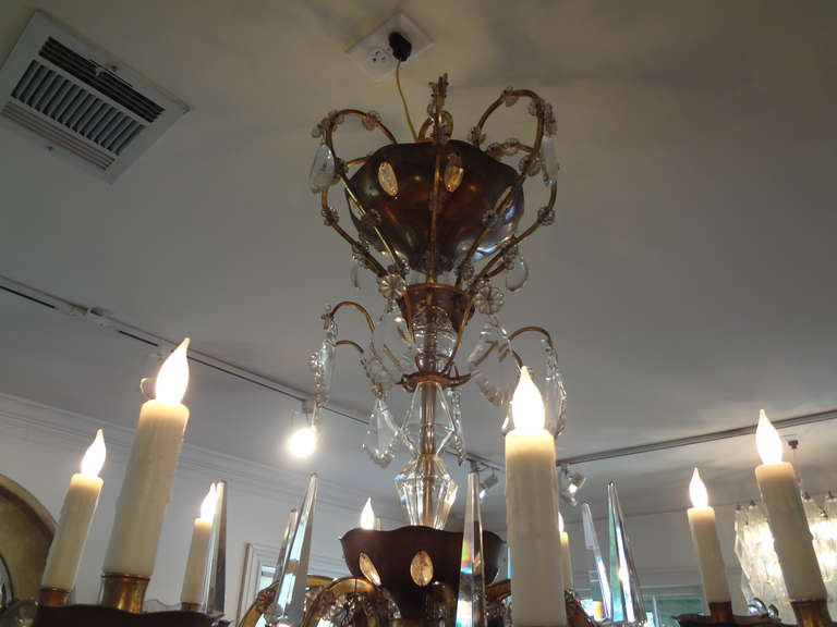 Bronze French Maison Baguès Style Eight-Light Crystal Chandelier For Sale