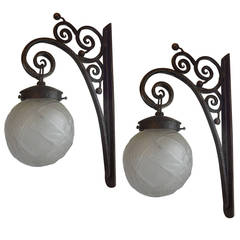 French Art Deco Edgar Brandt Inspired Wrought Iron and Glass Lantern Sconces