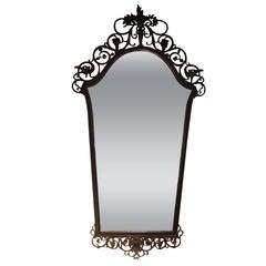 Signed Oscar Bach Bronze Mirror