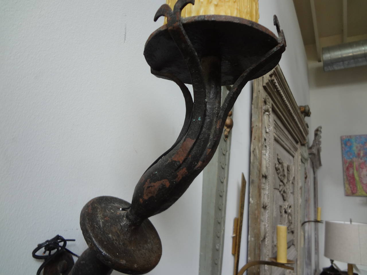 Early 20th Century Pair of Antique French Wrought Iron Torch Sconces For Sale