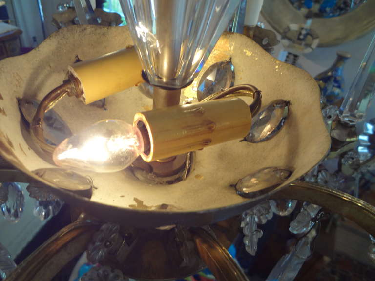 French Maison Baguès Style Eight-Light Crystal Chandelier For Sale 2