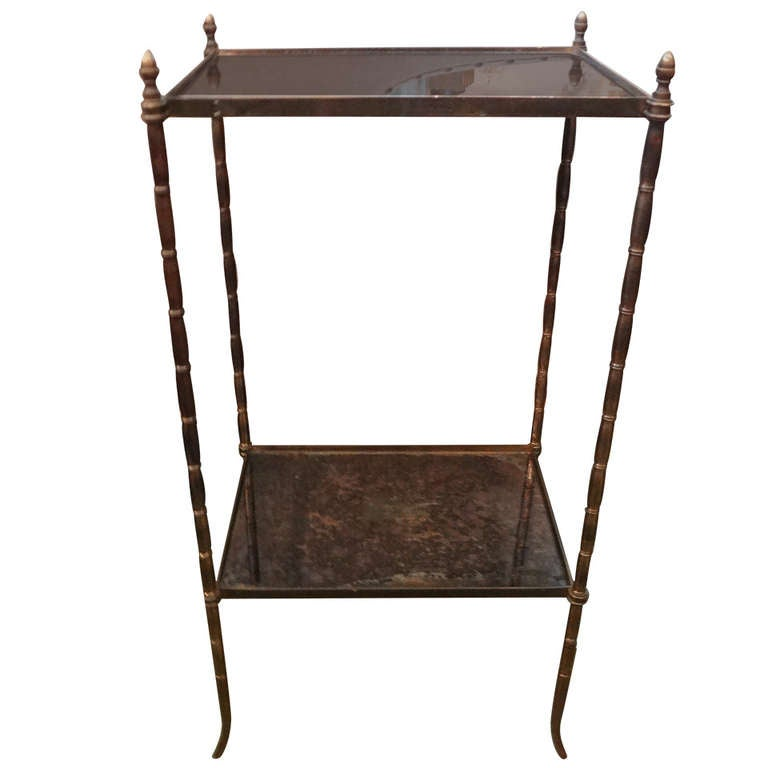 French Maison Baguès Style Faux Bamboo Bronze Gueridon For Sale