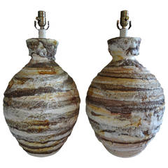 Pair of Large-Scale Italian Ceramic Table Lamps
