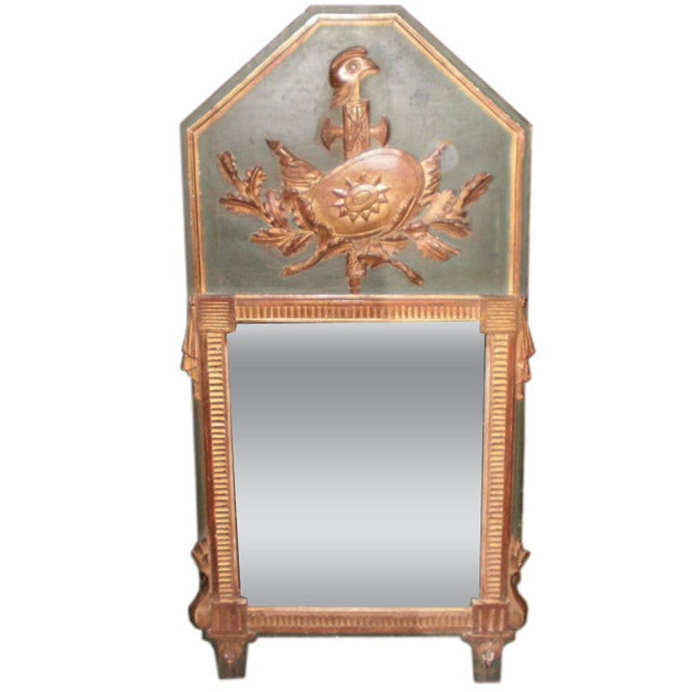 18th Century French Louis XVI Painted And Gilt Wood Trumeau