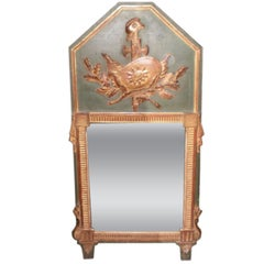 18th Century French Louis XVI Painted And Gilt Wood Trumeau Mirror