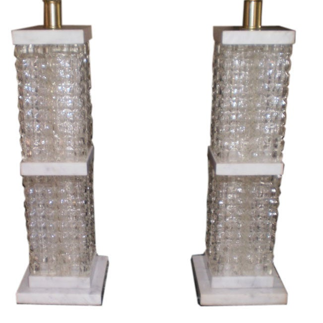 Pair Of Italian Mid-Century Modern Glass and Marble Lamps