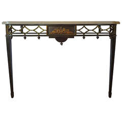 Stunning French Neoclassical Bronze Console Table with Marble Top