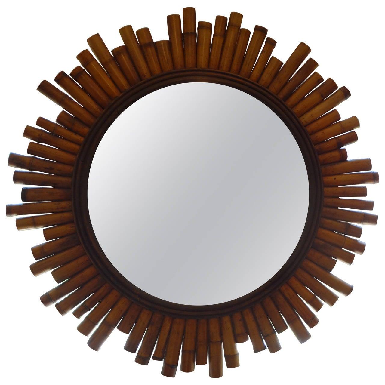 Mid Century Modern Split Bamboo Sunburst Mirror