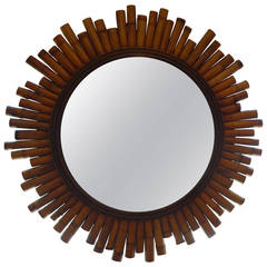 Mid Century Modern Split Bamboo Sunburst Mirror-SATURDAY SALE