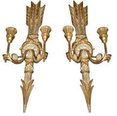 Pair Of Chic Italian Gilt Wood Candle Sconces