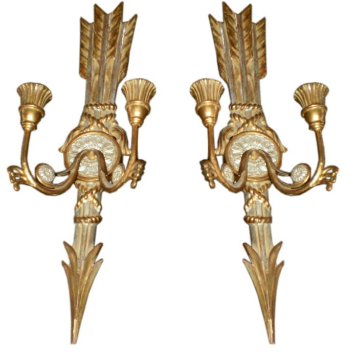 Pair Of Chic Italian Gilt Wood Candle Sconces at 1stdibs