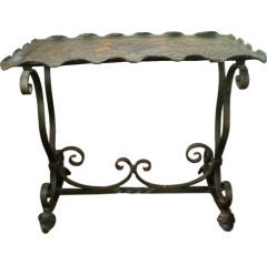Addison Mizner Inspired Arts and Crafts Wrought Iron Tray-Top Table