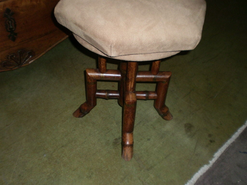 Antique french bamboo vanity or piano swivel stool for sale at 1stdibs - Antique vanity stools ...