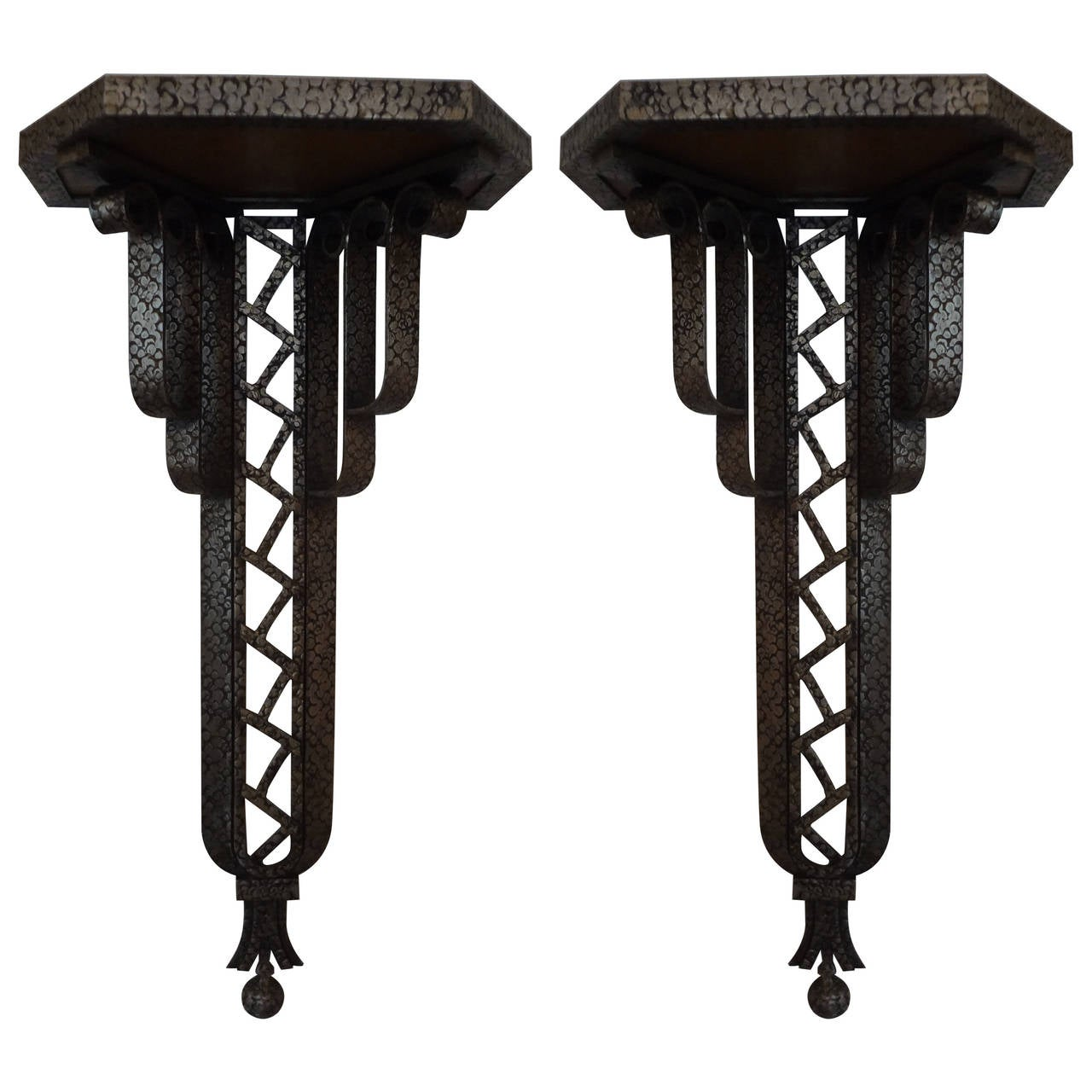 Art Deco Ornamental Ironwork: Large Pair Of Brandt Inspired French Art Deco Wrought Iron