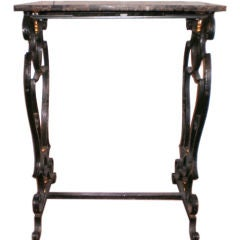 19th Century French Wrought Iron Console Table with Marble Top