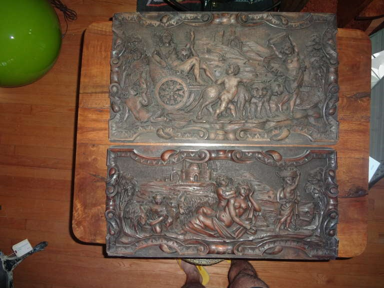 Great pair of well carved French Renaissance style relief architectural walnut wooden panels from the 19th century. The carved panels are possibly coffer fronts. Great wall art! Dimensions: 1. 14.75 inches H  25.75 inches L. 2. 12.25 inches  H  25