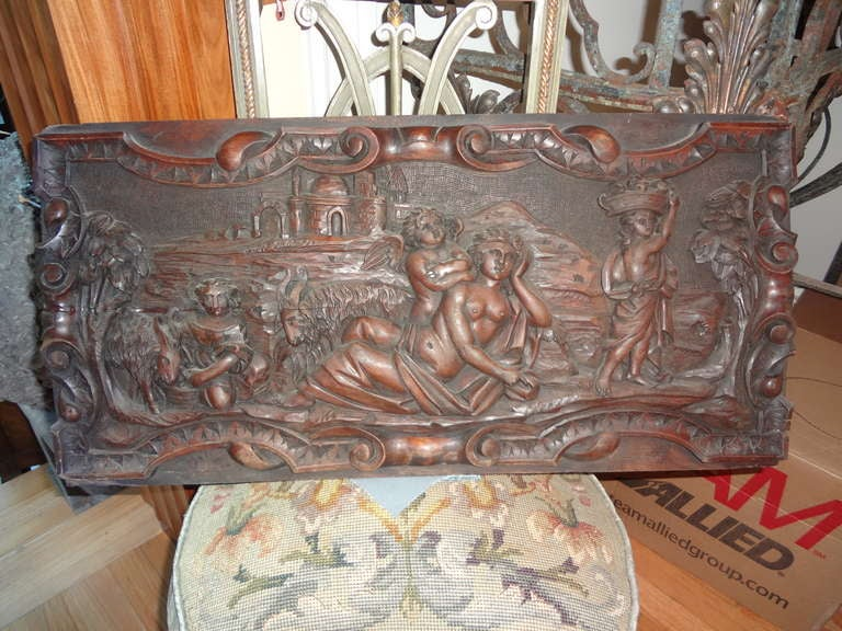 Pair Of Antique French Renaissance Style Relief Carved Wood Panels In Good Condition For Sale In Houston, TX