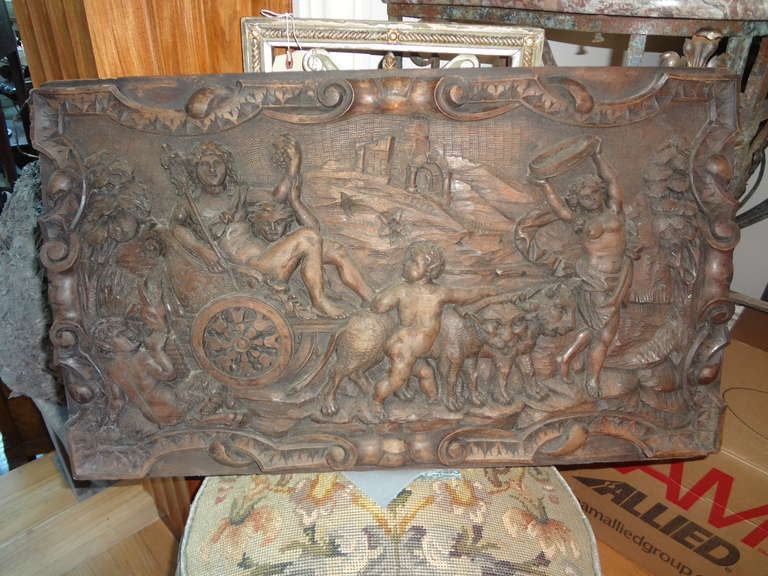Pair Of Antique French Renaissance Style Relief Carved Wood Panels For Sale 1