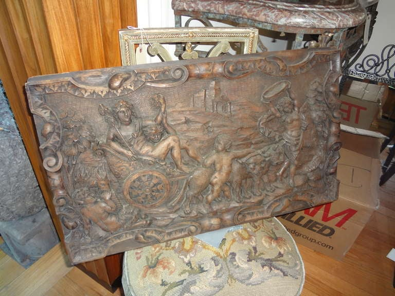 Pair Of Antique French Renaissance Style Relief Carved Wood Panels For Sale 2