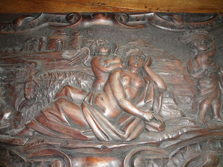 Pair Of Antique French Renaissance Style Relief Carved Wood Panels For Sale 4