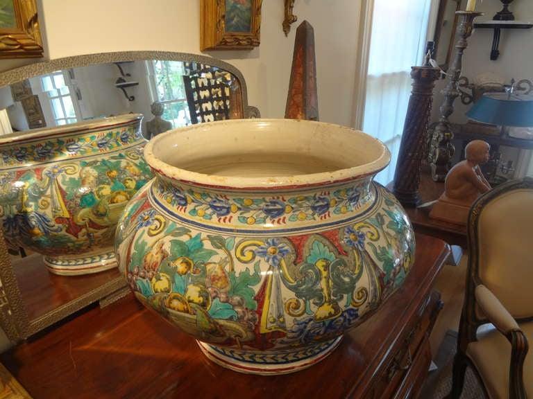 Magnificent 19th Century Italian Majolica Jardinière For Sale 4