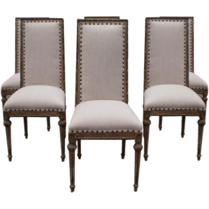 Stylish Set Of Italian Louis XVI Style Dining Chairs At