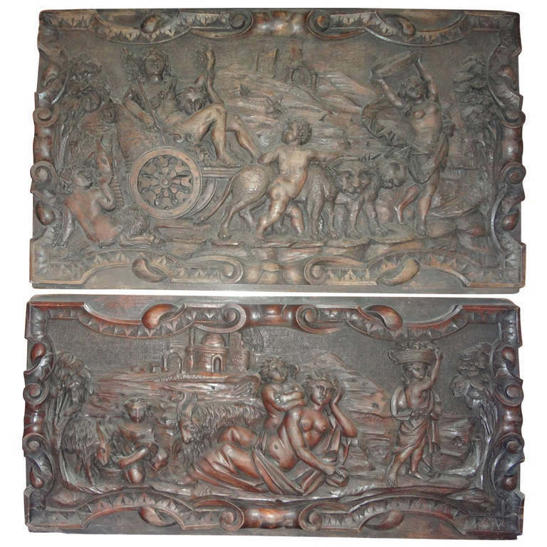 Pair Of Antique French Renaissance Style Relief Carved Wood Panels