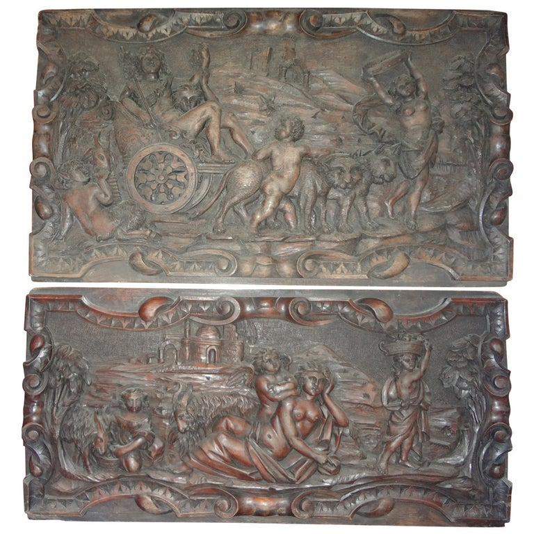 Pair Of Antique French Renaissance Style Relief Carved Wood Panels For Sale