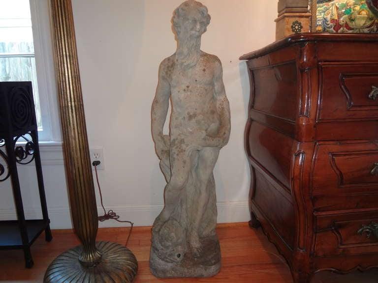 French garden fountain, garden sculpture, garden ornament or garden statue of Poseidon.