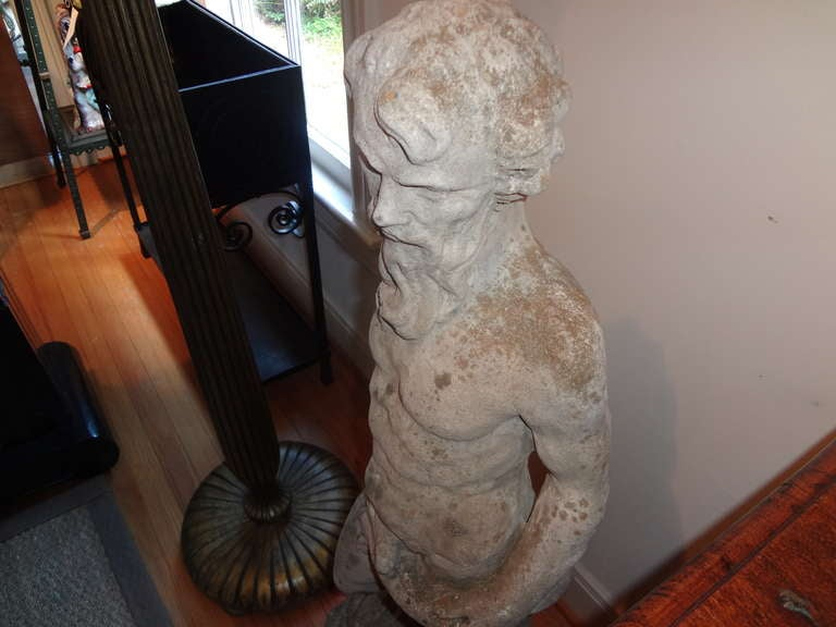 Antique French Garden Fountain or Sculpture of Poseidon In Good Condition For Sale In Houston, TX