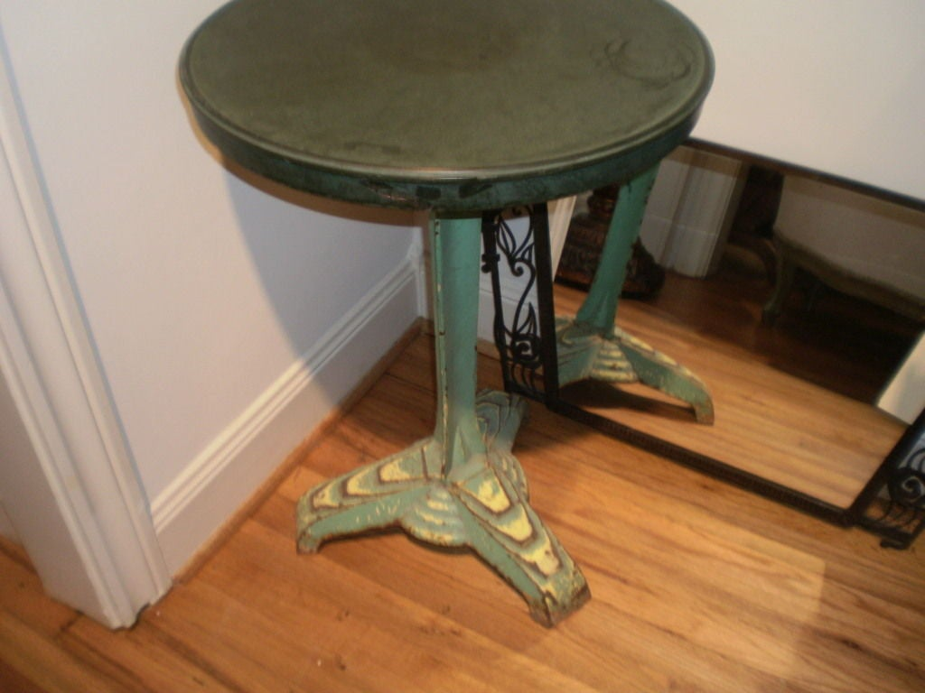 French Art Deco Iron Bistro Table With Bakelite Top For Sale At 1stdibs
