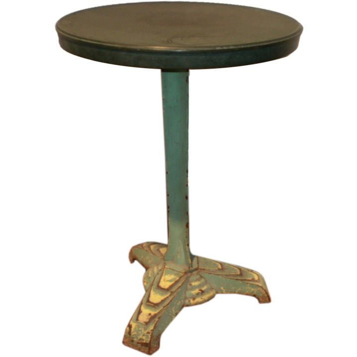 French Art Deco Iron Bistro Table with Bakelite Top For Sale
