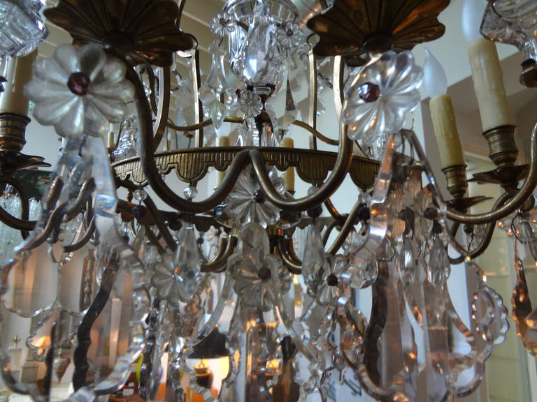 Antique French Baccarat Style Bronze and Crystal Chandelier For Sale 1