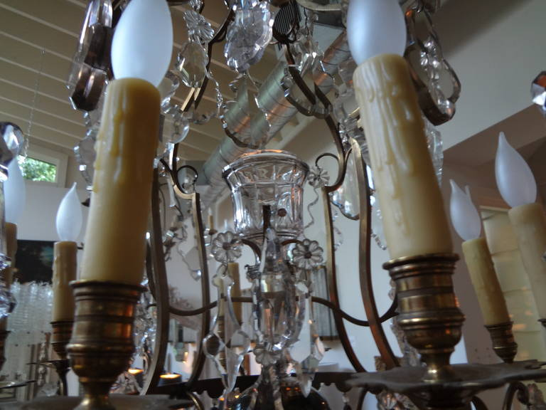 Antique French Baccarat Style Bronze and Crystal Chandelier For Sale 2
