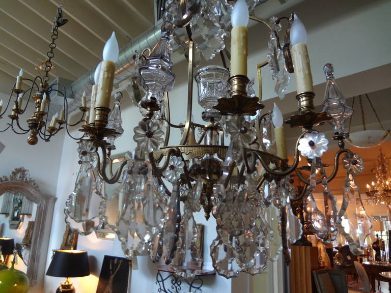 Antique French Baccarat Style Bronze and Crystal Chandelier For Sale 3