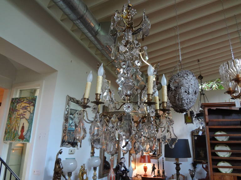 Antique French Baccarat Style Bronze and Crystal Chandelier For Sale 4