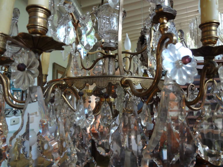 Antique French Baccarat Style Bronze and Crystal Chandelier For Sale 6