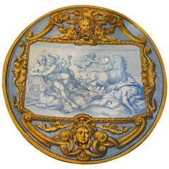 "Large Antique French Faience Charger  (25"")"