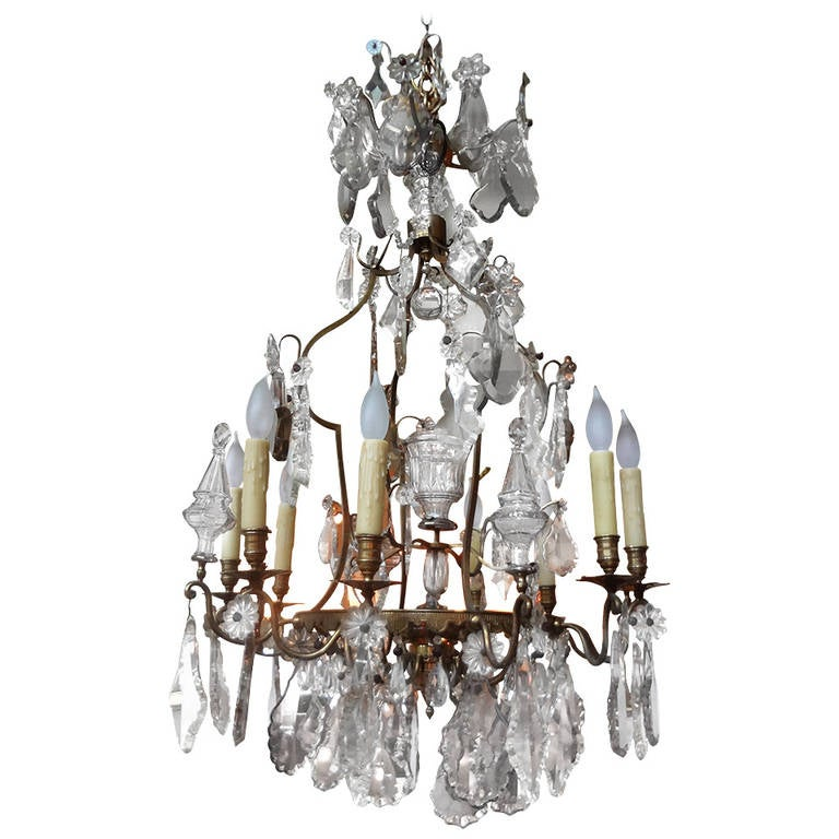 Antique French Eight Light Bronze And Crystal Chandelier