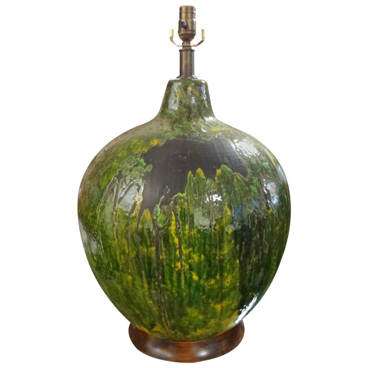 Huge Mid Century Italian Drip Glaze Pottery Lamp