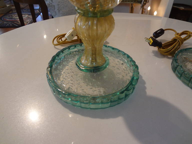 Pair Of  Italian Mid Century Murano Glass Lamps  In Good Condition For Sale In Houston, TX