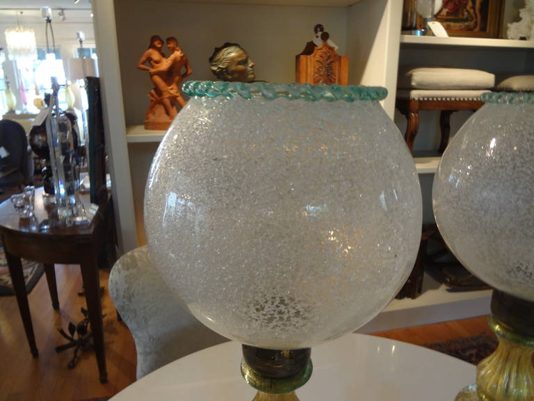 Mid-20th Century  Pair Of  Italian Mid Century Murano Glass Lamps  For Sale