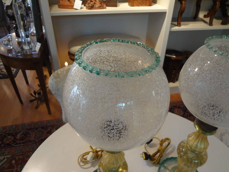 Pair Of  Italian Mid Century Murano Glass Lamps  For Sale 1