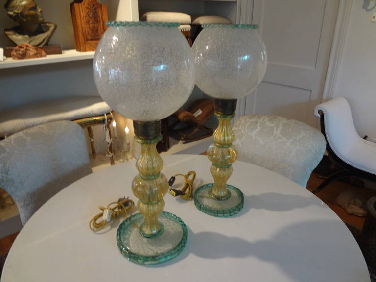 Pair Of  Italian Mid Century Murano Glass Lamps  For Sale 2