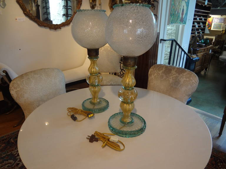 Pair Of  Italian Mid Century Murano Glass Lamps  For Sale 3