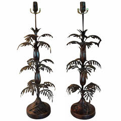 Tall Pair Of Mid Century Italian Tole Palm Tree Table Lamps
