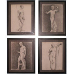 Group of French Framed Academic Black And White Drawings