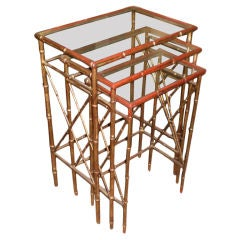 """TRIO OF """"BAMBOO"""" NESTING TABLES"""